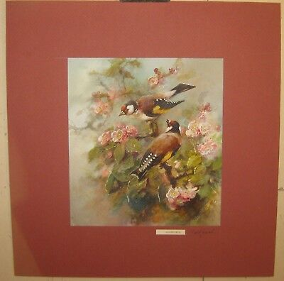 Antique WILLIAM EDWARD POWELL 'Goldfinch' Birds in Flowers PAINTING - LIsted UK