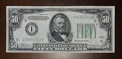 1934 $50 FR-2102-I MINNEAPOLIS Federal Reserve Note
