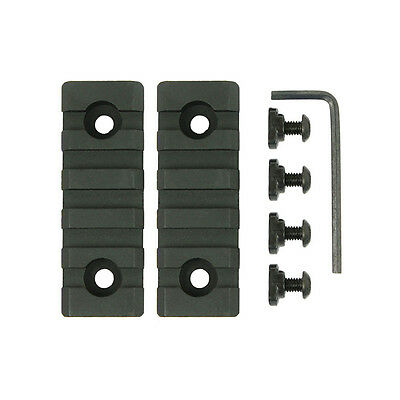 2PCS MLOK /M-Lok 5 Slot Picatinny/Weaver Rail Handguard Section Aluminum - Black
