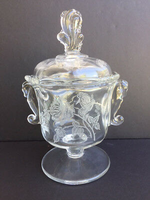 HEISEY WAVERLY ROSE Etched CANDY JAR Seahorse Handle Footed Covered