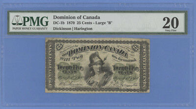 "DC-1b 1870 ¢25 Cents Dominion of Canada Large ""B"" Dickinson