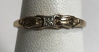 Antique Vintage Art Deco 14k Yellow Gold Accented Ring Band Sz 6 (1.1 gr)