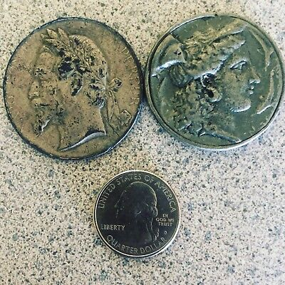 Lot Of 2 Antique Coins (Napoleon III) And A Roman Emperuer? French Medal