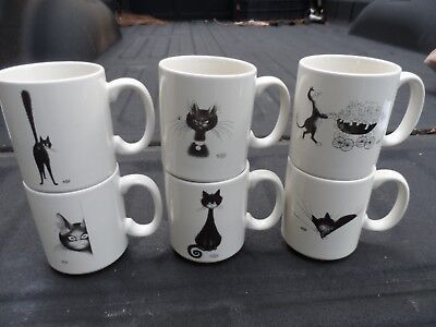 Set 6 Dubout France Cat Collector Mugs Cups 2002, 2003 & 2004  HTF