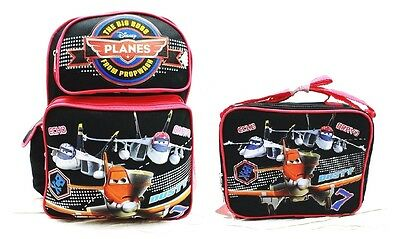 """Disney Planes Boys 16"""" Canvas Black & Red School Backpack w/Insulated Lunch Bag"""