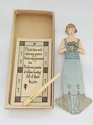ANTIQUE Paper Doll with Darning Needle with Original Box