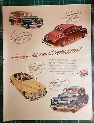 Full Color Large Vintage Magazine Ad PLYMOUTH 1946 Auto 1 page