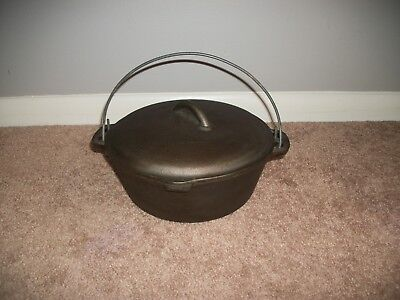"""Vintage Cast Iron No:8-B-7  10-1/4"""" Dutch Oven Pot Made in USA With Lid"""