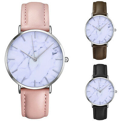 Fashion Men's Women's Classic Quartz Watch Marble PU Leather Simple Womens Watch