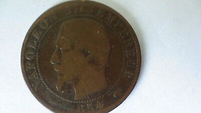 1854 France Napolion III cinq centimes coin