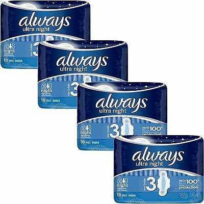 Always Ultra Nuit Serviettes Hygiéniques Tampons Ailes Womens Super Absorbant