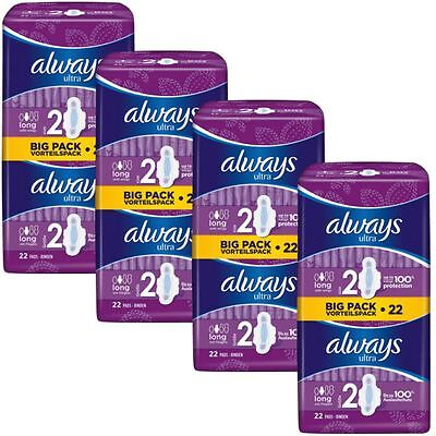 Always Ultra Long Serviettes Hygiéniques Tampons Taille 2 Ailes Femmes
