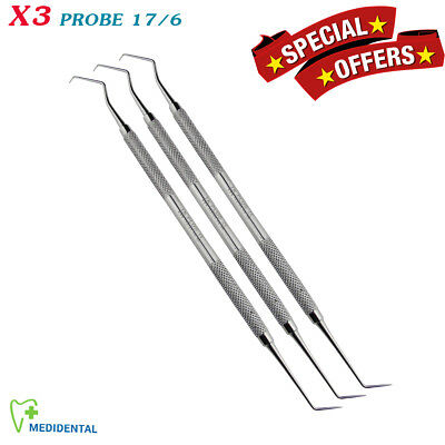 Set of 3 Surgical Periodontal Instruments Probe 17/6 Dental Laboratory Tools NEW