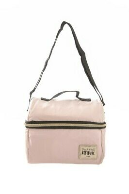 Blush Pink Insulated Double Layer Lunch Bag