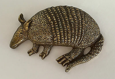 Vintage Large Sculptured Armadillo B old large metal pin