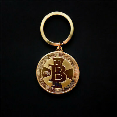 BITCOIN Coin BTC Keychain Cryptocurrency Keyring Key Fob Pendant GOLD SILVER