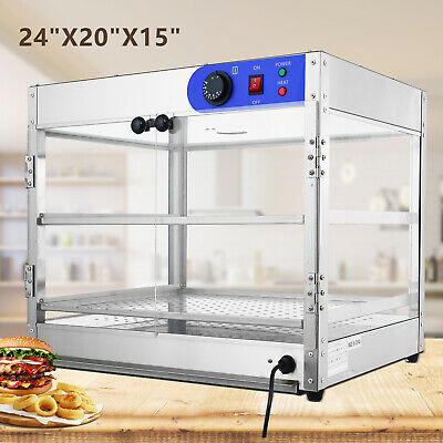 """24""""x20""""x15"""" Commercial 2-Tier Countertop Food Pizza Warmer Display Cabinet Case"""