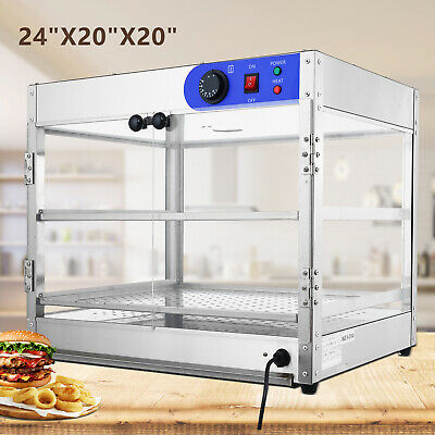 "24""x20""x20"" Commercial 2-Tier Countertop Food Pizza Warmer Display Cabinet Case"