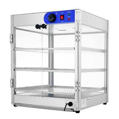 """20""""x20""""x24"""" Commercial 3-Tier Countertop Food Pizza Warmer Display Cabinet Case"""