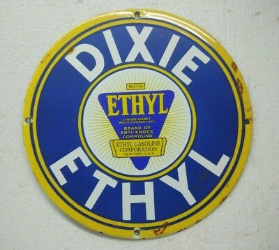 Porcelain Sign Dixie Ethyl 11.5 Inches Dia Approx