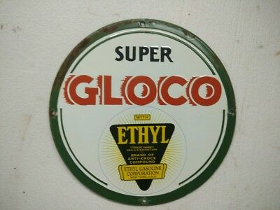 Porcelain Sign Super Gloco Ethyl 11.5 Inches Dia Approx