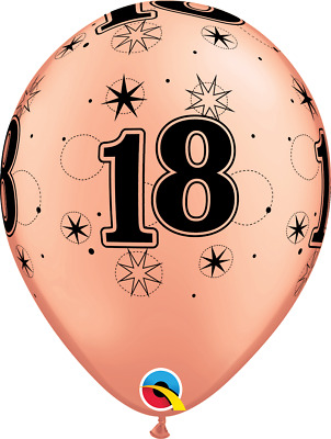 Party Supplies Birthday Girls Sparkling Rose Gold Black 18th Latex Balloons pk10
