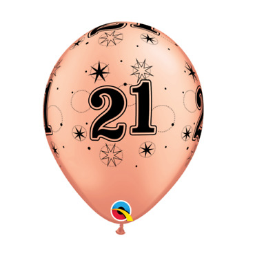 Party Supplies Birthday Girls Sparkling Rose Gold Black 21st Latex Balloons pk10