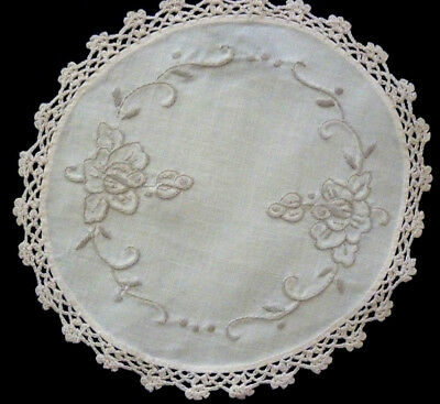 Beautiful Linen Hand Embroidered Doily Hand Crochet Edge Flowers 19 Cm Diam  Vgc
