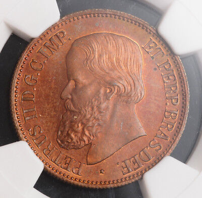 "1872, Brazil/Portugal, Pedro II. Copper ""Visit to Portugal"" Medal. MS-64 RB!"