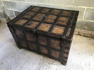 18th Century Iron Bound Strong Box Perfect Coffee Table!