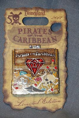 """Pirates of the Caribbean 50th Anniversary """"Red"""" Gem Pin New LE 2500"""