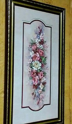 Homco Home Interiors Signed by Artist Barbara Mock w/Flowers & Vintage Frame