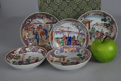 A selection of 6 Chinese famille rose figural Mandarin dishes 18thc Qianlong