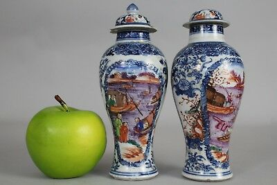 A pair of Chinese famille rose Mandarin vases, shipping scenes 18thc Qianlong