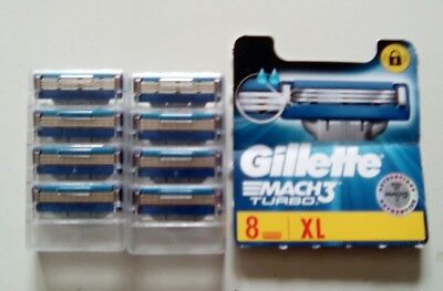 Gillette Mach3 turbo Lames de rasoir lot de 8 neuves.