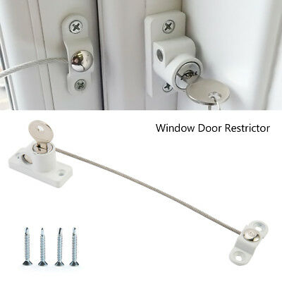 1/2/4X Window Door Restrictor Child Baby Safety Security Locking Cable Wire Lock