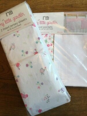 Mothercare My Little Garden Pack Of 2 Fitted Jersey Cot Bed Sheets & Cot Pocket
