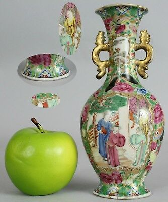 A Chinese Canton famille rose vase with figural decoration and handles 19thc