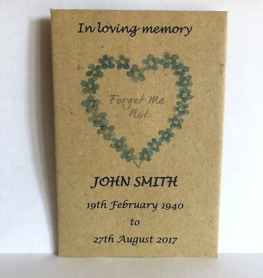 100 Personalised Funeral Favours Seed Packets Forget Me Not with NO Seeds