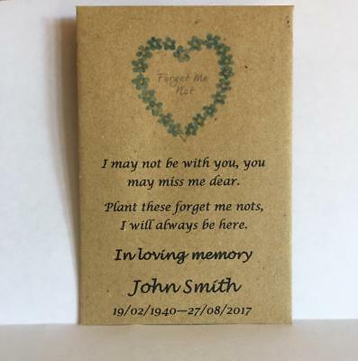 100 Personalised Funeral Favours Seed Packets Forget Me Not & Poem NO SEEDS