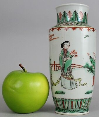 A Chinese famille verte cylindrical vase with figural decoration 19th/20thc