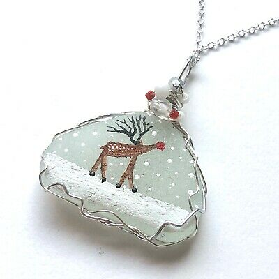 """Christmas baby rudolph reindeer necklace, hand painted to order - 18"""" chain"""