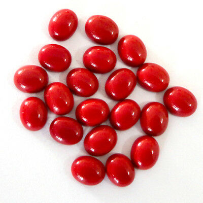 RED CORAL Cabochon 9X11 mm Oval Shape 10 Piece Wholesale Lot Gemstone # 10825