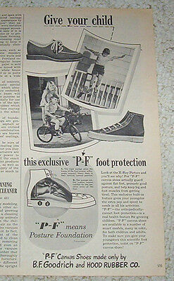 1947 print ad -Hood Rubber BF Goodrich kids PF P-F sneakers shoes Vintage advert