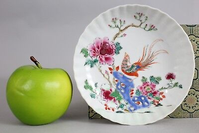 A Chinese famille rose fluted dish with bird on rock Yongzheng-Qianlong 18thc