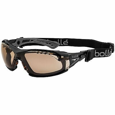 Bolle Rush Plus Safety Glasses Black Temples Twilight Anti-Fog Lens w Strap