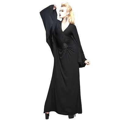 Black Gothic Long Batwing Morticia Witch Pagan Maleficent Halloween Dress
