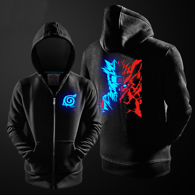 Anime NARUTO Uzumaki Hoodie Jacket Coat Luminous Zipper Sweater Cosplay Japanese