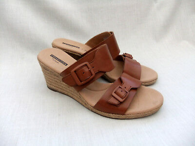 c4c106a13105 New Clarks Lafley Devin Womens Dark Tan Leather Sandals Mules Size 6.5   40