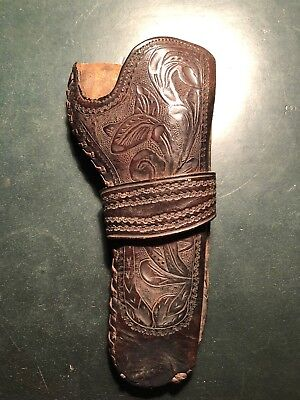 Antique Original Circa 1890-1910 Cowboy Tooled Leather Holster SIngle Action